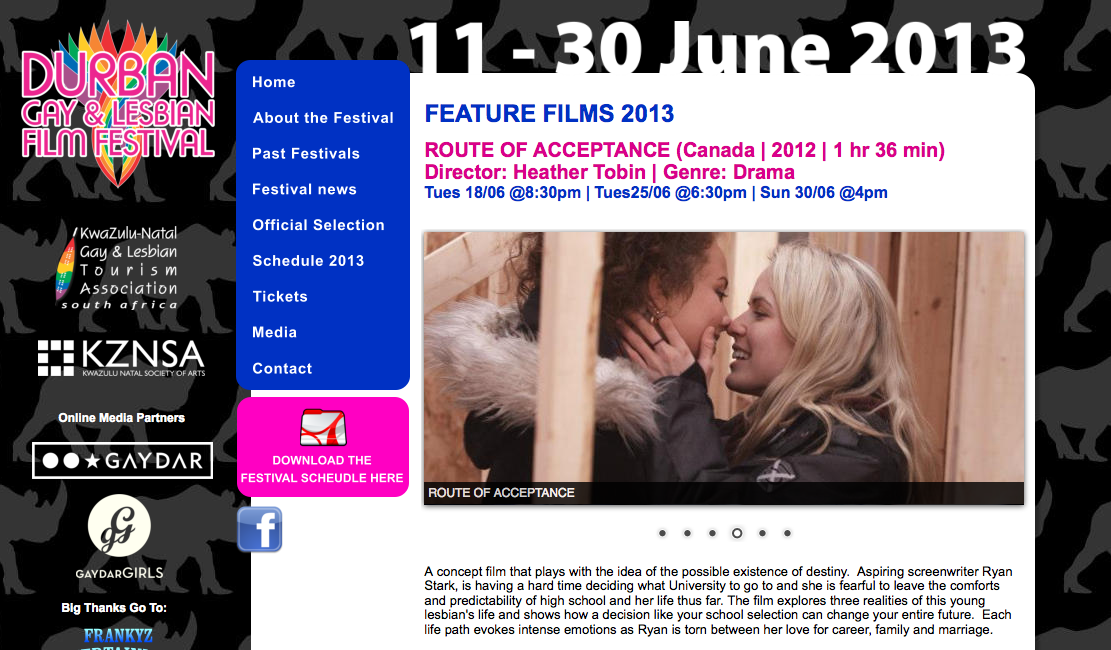 Durban Gay & Lesbian Film Festival South Africa -8pm Tuesday June 18 & 430pm Sunday June 30:2013