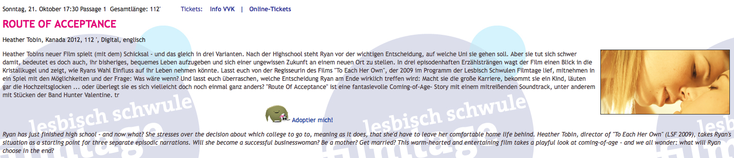 Lesbisch Schwule Filmtage Hamburg International Queer Film Festival -730 pm Sunday October 21:2012