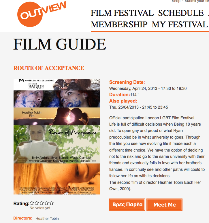 Outview Film Festival (Greece) -5-30pm Wednesday April 24:2013 & 9-45pm Thursday April 25:2013