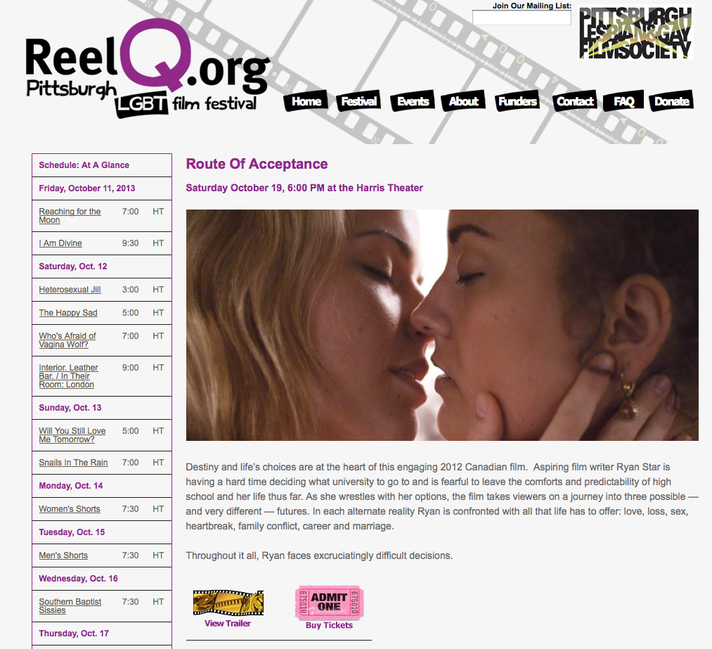 Pittsburgh Lesbian and Gay Film Festival -6pm Saturday October 19:2013